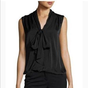 Max Studio Tie-Neck Blouse Tank, Black six xl